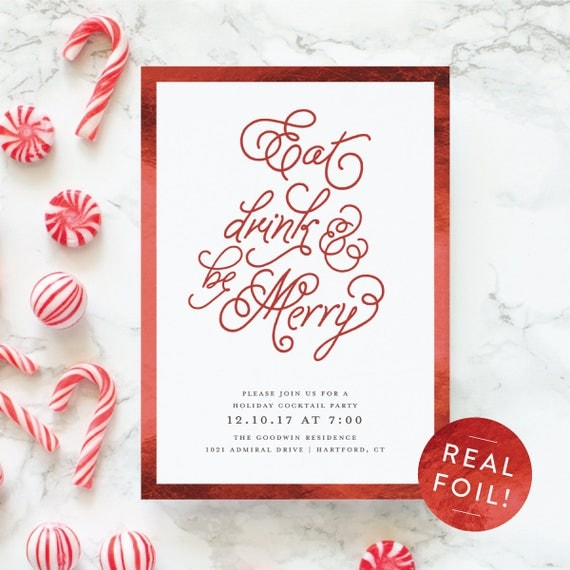 Holiday Party Invitation Eat Drink and be Merry Theme Party Invitations, Christmas Invitations with Red Foil Stamping, Cocktail Party Invite