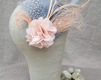 fascinator bridal headpiece different colors gray pastell blush millinery hairflower Vintage bestseller pastell feathers gray polka dots
