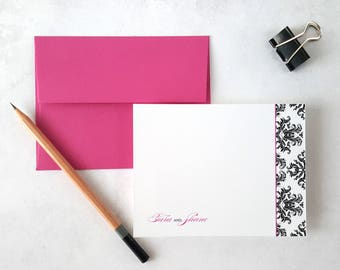 Personalized Stationery | Flat Notecards | Wedding Stationary | DAMASK | Couples Stationary | Stationery Note Cards