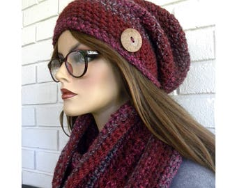 Scarf and Hat Set, Winter Accessory, Warm Winter Scarf, Handmade, Crocheted Slouch Hat,Acrylic Yarn,  Gift for Women, Gift For Teen Girl