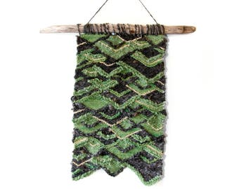 Geometric Woven Tapestry Wall Hanging, Green, Brown and Gold hanging on Driftwood Branch, Nature Weaving Home Decor, Freestyle Woven Art