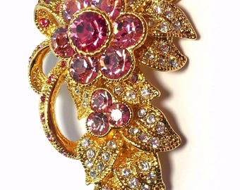 Jackie Kennedy Pink Floral Brooch - Gold Plated, Box and Certificate