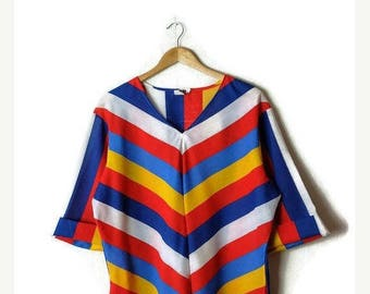 ON SALE Vintage Oversized Colorful Stripe Tunic from 80's*