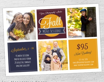 Fall Marketing Board, Fall Photography Marketing Board, Fall Mini Session Template, Autumn, Photoshop Template for Photographers  - 07-006
