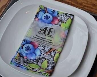 Organic Cloth Napkin - Maine Blueberry & Granite Print - Cotton Fabric (Slate Napkin Ring add on option)