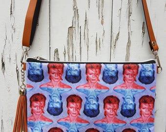 David Bowie Aladdin Sane Handbag - Blue and Red Lightning Bolt Bag Brown