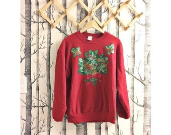 Vintage Ugly Christmas Sweater // Tacky Christmas Sweater //  Christmas Cardigan // Xmas Jumper