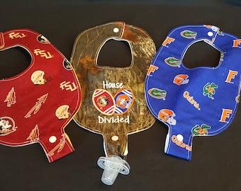 House Divided FSU Seminoles / UF Gators Inspired Custom Embroidered Baby Pacifier / Binky Bibs Set