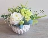 Green & White Ranunculus Faux Flower Arrangement, Silk Flowers, Desk Flowers, Apartment Flowers, Small Flowers