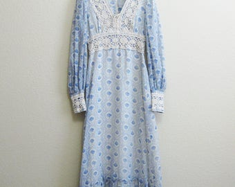 Crochet Peasant Dress Blue White Cotton Floral Small