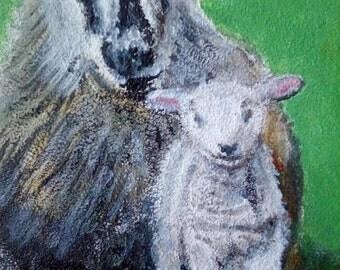 Aceo Original Sheep Ewe and Lamb Wildlife Painting Drawing Animal Oil ATC Art Card