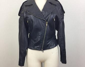 Vintage 80s NORTH BEACH Michael Hoban Black Leather Biker Jacket S