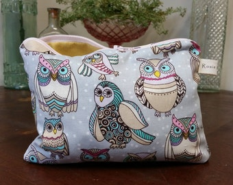 Owl & Mustard Zippered Bag