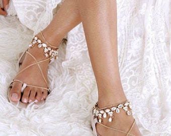 Nude Flat Sandals Gladiator Sandal Leather Gold Chains Wedding