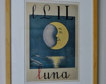 Vintage Alphabet Poster Land of Nod L for Luna Moon Framed Nursery