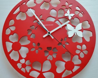 George Nelson Design Butterfly Clock Reproduction Red & White