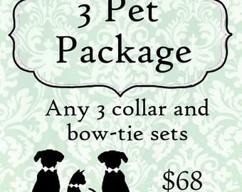 3 dog bow tie collars & cat bow tie collars package deal, set, 3 pets