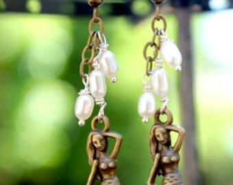Brass Mermaid Earrings with Freshwater Pearls