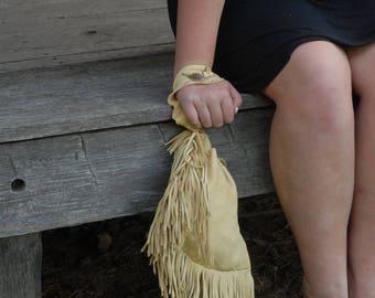 Leather Drawstring Purse - Fringed purse, fringed drawstring evening bag,southwestern purse, boho purse
