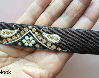 Brown, Beige And Gold Embroidered Trim, Paisley And Floral Embroidery, Approx. 24mm wide - 200317L19