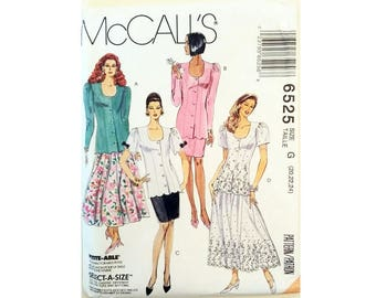 "UNCUT McCall's #6525 Fitted Scoop Neck Scallop Edge Jacket and Straight or Full Skirt Plus Size Sewing Pattern Bust 42"" 44"" 46"" UK 20 22 24"