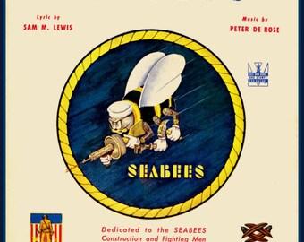 Art Print US Navy Seabees Print WW2 1940s Print 8 x 10
