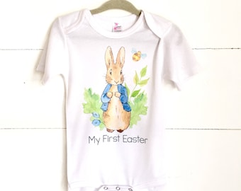 My First Easter, Baby Boy Easter Shirt, My 1st Easter, Newborn Easter Outfit, Baby First Easter Outfit, Mr Rabbit, Boho Baby Clothes