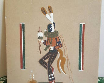 Native American Dancer Authentic Sand Painting 12 by 12 inches Ceremony New Mexico Art Southwestern Spirit