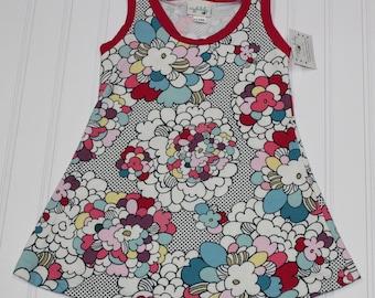 2T Pop Retro Floral Knit Tank Dress, Girls Floral Tank Top Dress, Spring Summer Dress