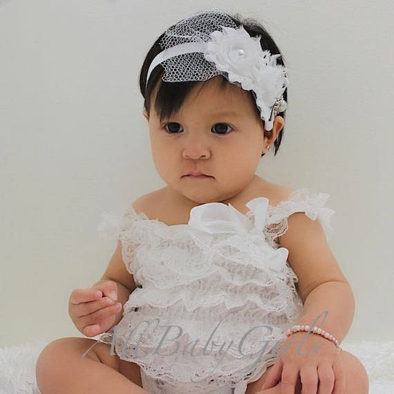 Baptism Headband, White Headband, Flowers Headband, Newborn Headband, Headband for Baptism, Flower Girl Headband, Flower Girl Wedding