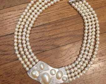 VTG Runway Large Monet Faux 4-Strand Pearl Rhinestone Necklace