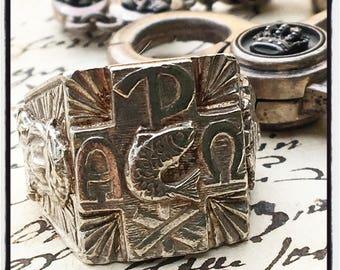 Etherial Handmade Chi Ro Ring ChiRo Ring Fish Ring Alpha Omega Jesus Christ Ring ChiRo Silver Cross Ring Christianity Ring Silver Jesus Ring