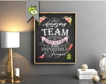 team art, printable, Female team, A truly amazing team is hard to find & impossible to forget, team gift, Boss Day, digital Printable