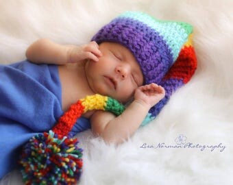 Rainbow Baby Elf Hat, Crochet for Newborns, Babies, and Toddlers