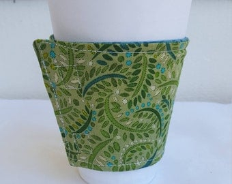 Beverage or Coffee cozy - green print with reversible blue lining