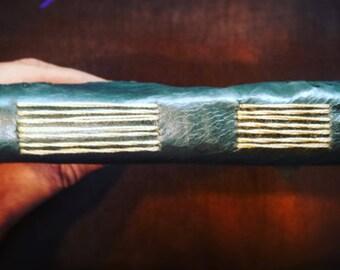 Handbound Leather Journal | Hummingbird | long stitch binding | Tea Dyed Paper