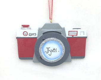 FREE SHIPPING: Camera Personalized Christmas Ornament / Photographer Ornament/