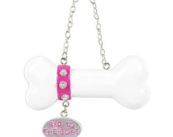 Dog Bone Personalized Christmas Ornament / Bad to the Bone/ Pink Puppy Ornament / Dog Gift / Pet Gift / Fur Baby
