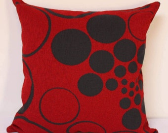 Red Pillow cover, Fibonacci Habanero Large Scale Design Dark Grey pillow cover, red and grey pillow cover, modern pillow cover