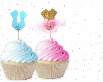 Gender Reveal Cupcake Toppers - Baby Shower cupcake toppers, Gender reveal cupcake toppers, Baby Shower Decor, He or She