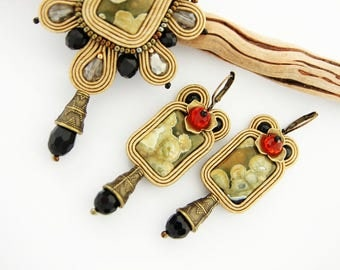 Beige soutache earrings, minimal soutache earrings, embroidered earrings