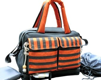 Convertible 3-in-1 Large Diaper Bag Converts from a tote to a messenger or backpack, 2 sections Inside, 4 Bottle Holders, Changing Pad