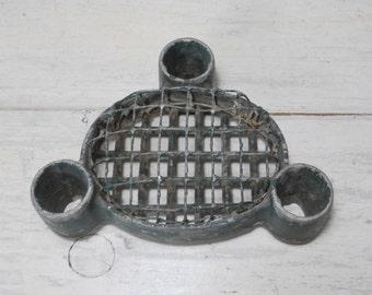 Vintage Green Flower Frog Candleholder