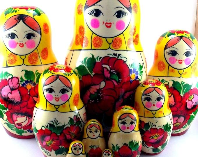 Nesting Dolls 10 pcs Russian matryoshka Babushka doll for kids set Wooden stacking authentic genuine toys Birthday gift for mom Rossiyanka