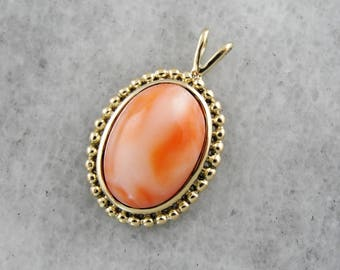 Pretty Pink Coral Cabochon Pendant in Vintage Frame, Coral Pendant, Layering Pendant JVP0LX-D