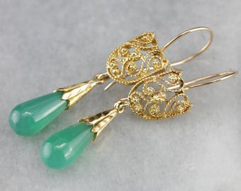 Ornate Filigree Green Onyx Drop Earrings RFRYZAV6-P