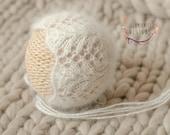 Newborn White Lace Angora Bonnet - Newborn Knit Dainty Bonnet - Newborn Lace Photo Prop - Newborn Neutral Knit Prop - Neutral Bonnet