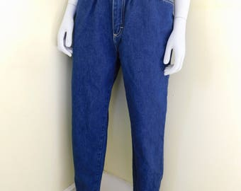 Vintage, 1980's-90's, Gitano, High Waisted, Dark Rinse, Pleated Front, Mom Jeans, Size 10 Regular