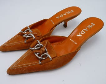 90's Prada Orange Kitten Heels with Chain Buckles