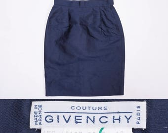 GIVENCHY COUTURE High Waisted  Navy Blue Silk Pencil Skirt